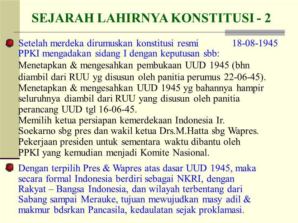 SEJARAH LAHIRNYA KONSTITUSI - 2