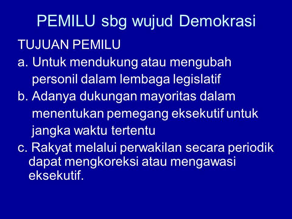 PEMILU sbg wujud Demokrasi