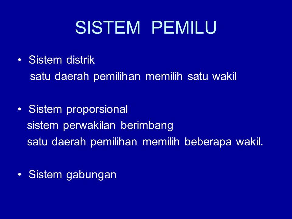 SISTEM PEMILU Sistem distrik satu daerah pemilihan memilih satu wakil