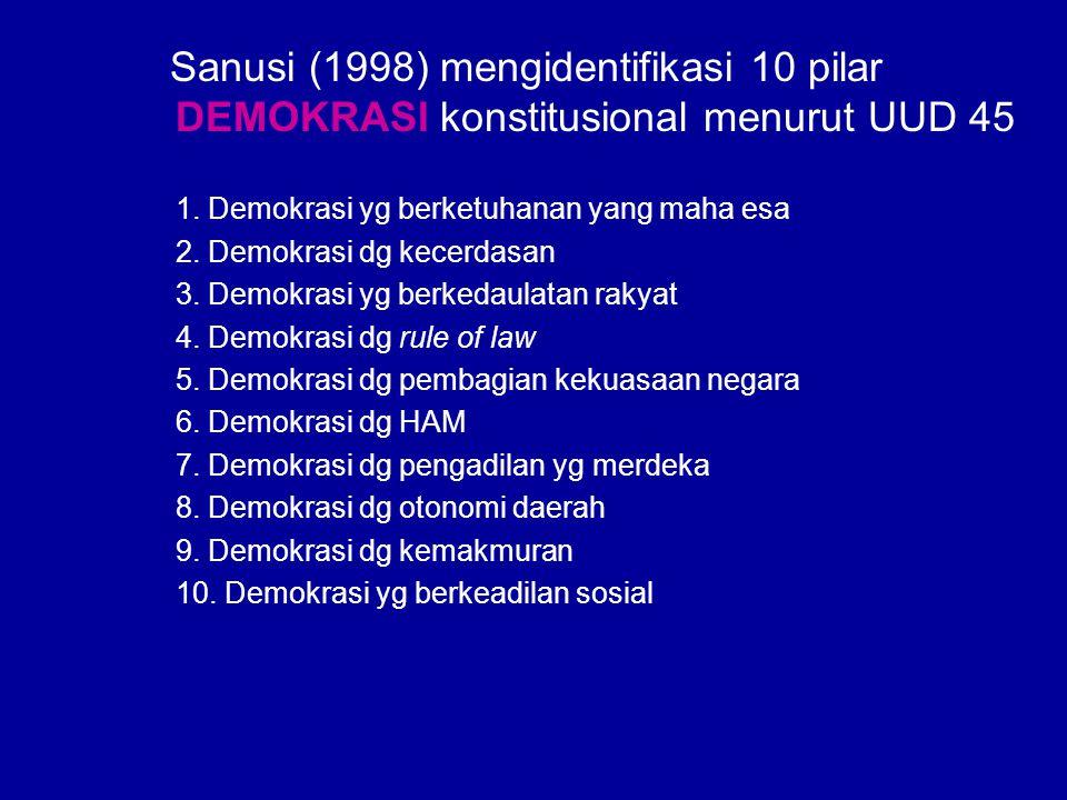 Sanusi (1998) mengidentifikasi 10 pilar DEMOKRASI konstitusional menurut UUD 45