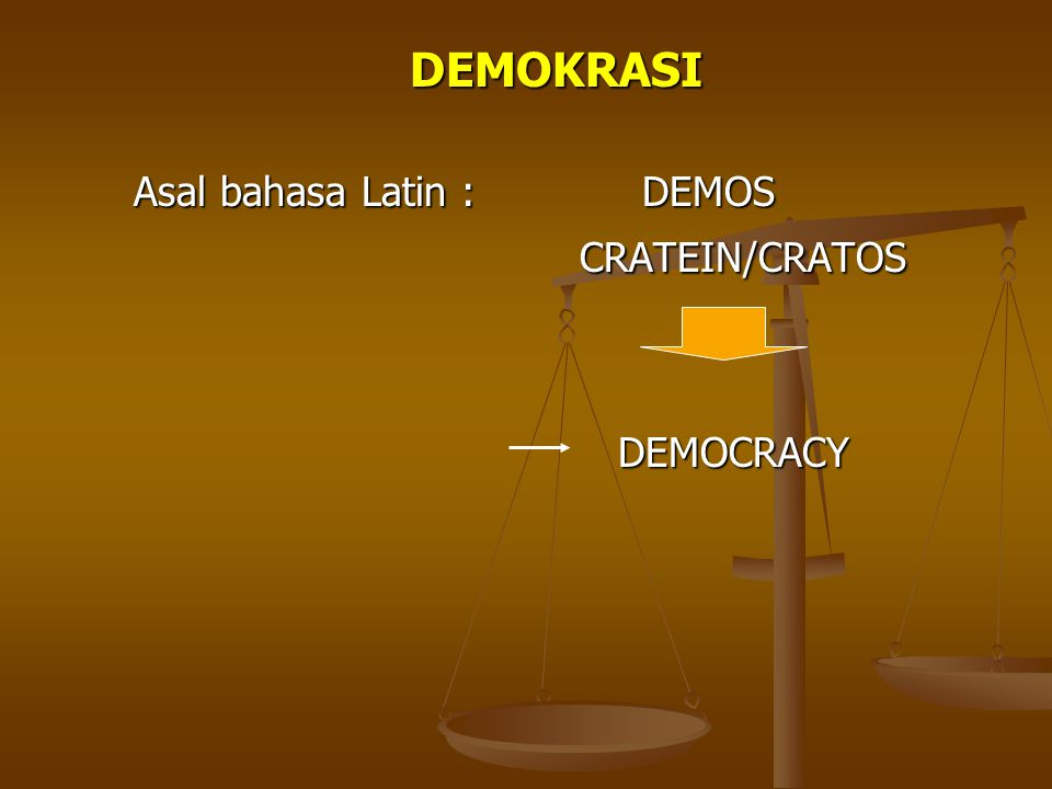 DEMOKRASI Asal bahasa Latin : DEMOS CRATEIN/CRATOS DEMOCRACY
