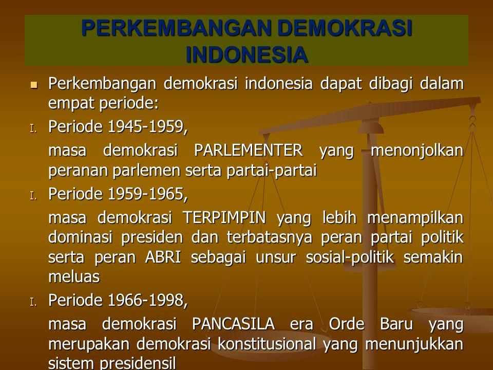 PERKEMBANGAN DEMOKRASI INDONESIA