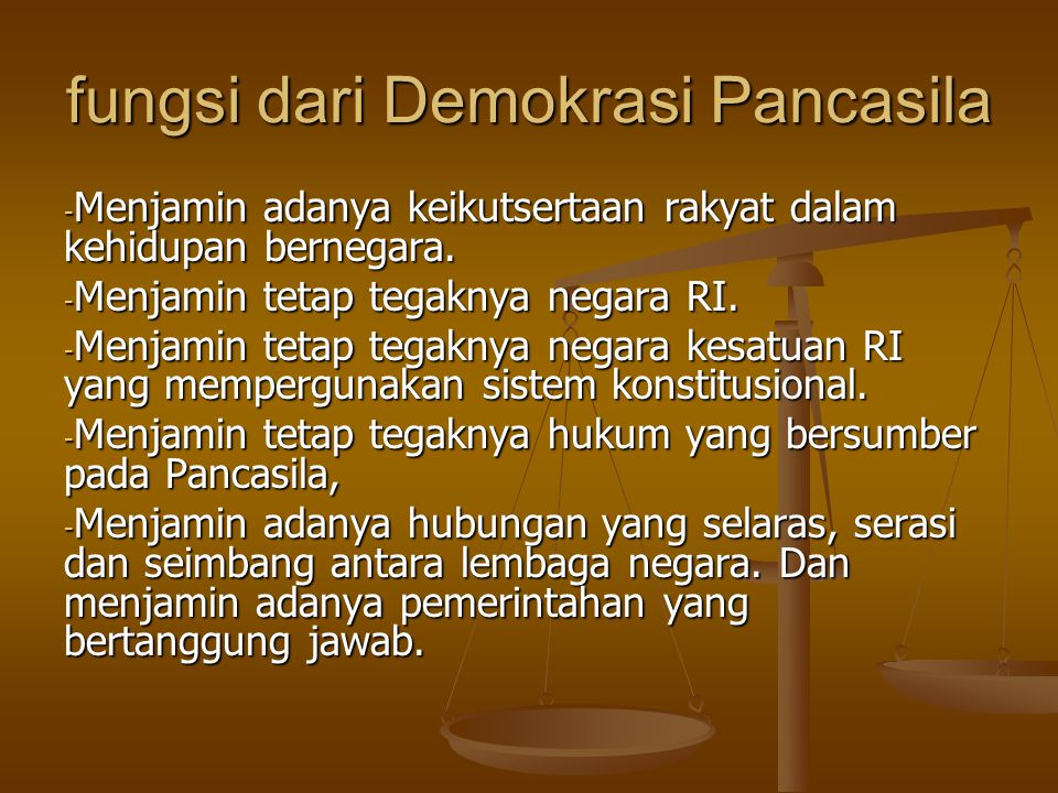 fungsi dari Demokrasi Pancasila