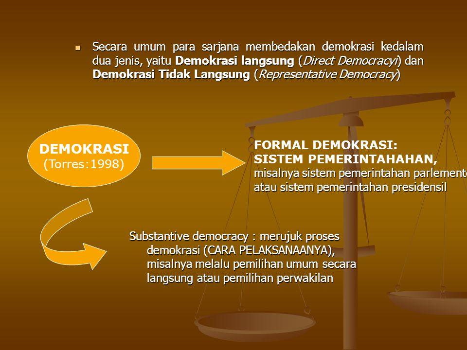 Secara umum para sarjana membedakan demokrasi kedalam dua jenis, yaitu Demokrasi langsung (Direct Democracyi) dan Demokrasi Tidak Langsung (Representative Democracy)