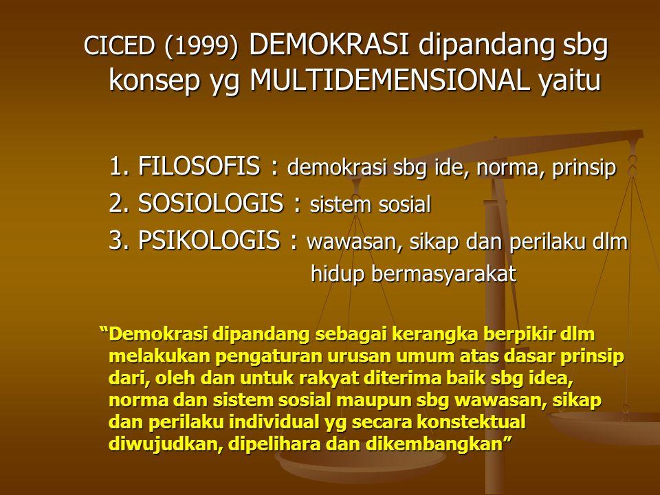 1. FILOSOFIS : demokrasi sbg ide, norma, prinsip