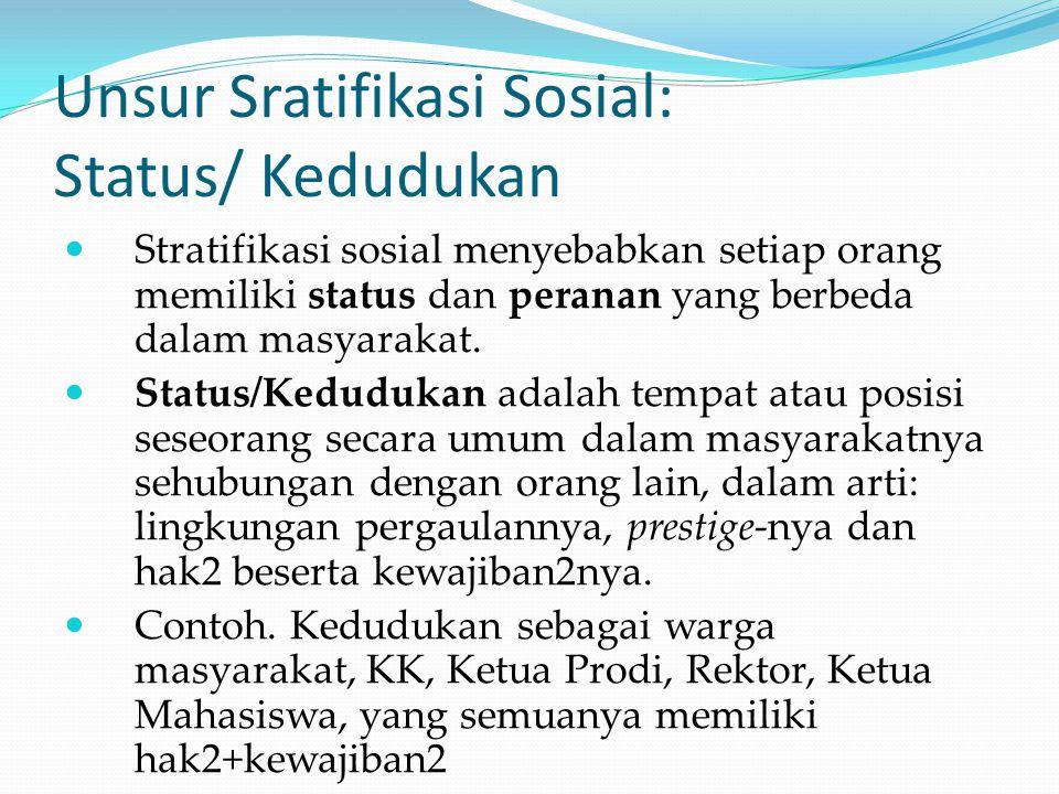 Unsur Sratifikasi Sosial: Status/ Kedudukan