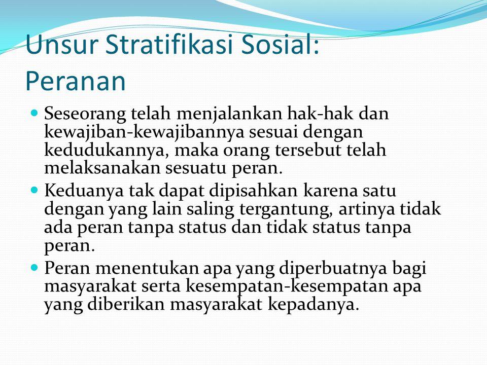 Unsur Stratifikasi Sosial: Peranan