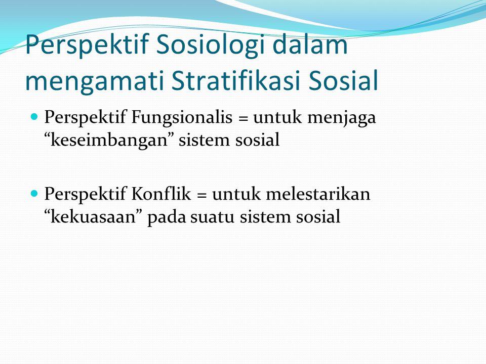 Perspektif Sosiologi dalam mengamati Stratifikasi Sosial
