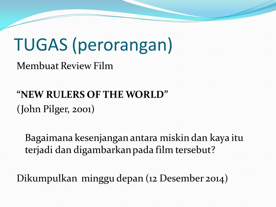 TUGAS (perorangan) Membuat Review Film NEW RULERS OF THE WORLD
