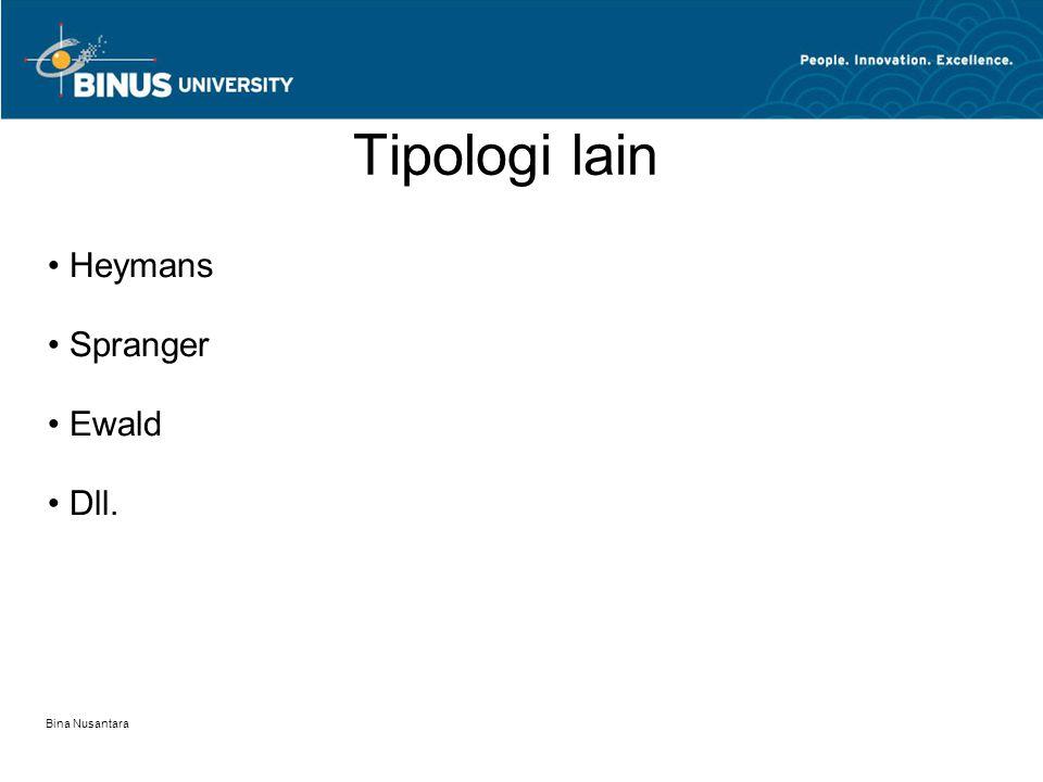 Tipologi lain Heymans Spranger Ewald Dll. Bina Nusantara