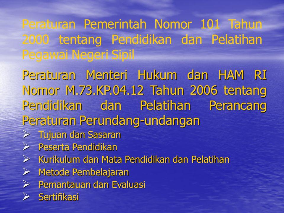 Peraturan Pemerintah Nomor 101 Tahun 2000 tentang Pendidikan dan Pelatihan Pegawai Negeri Sipil