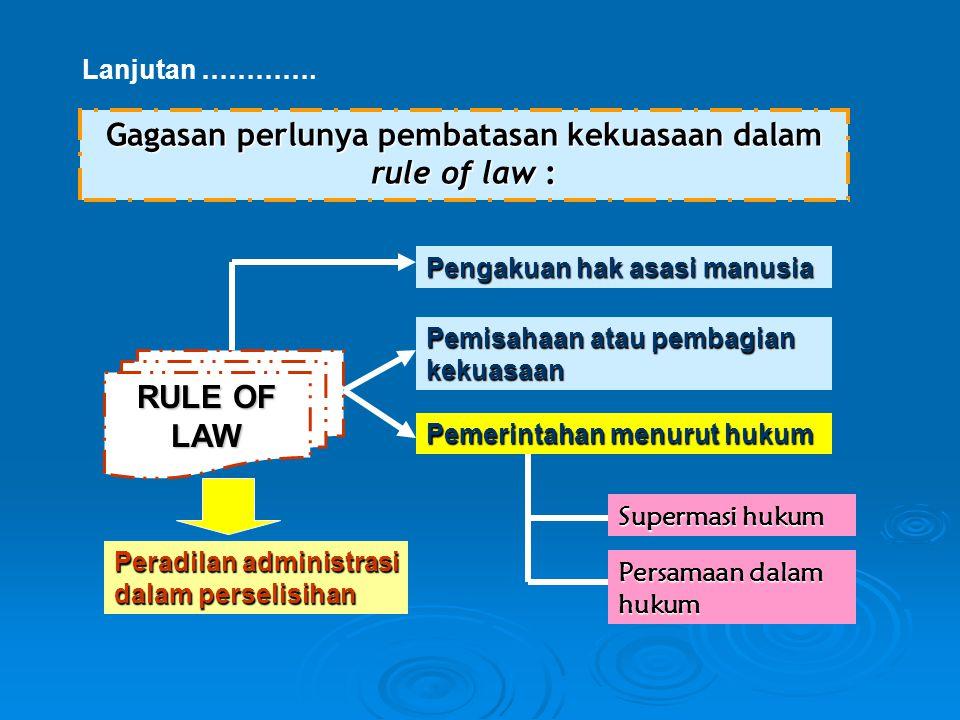 Gagasan perlunya pembatasan kekuasaan dalam rule of law :