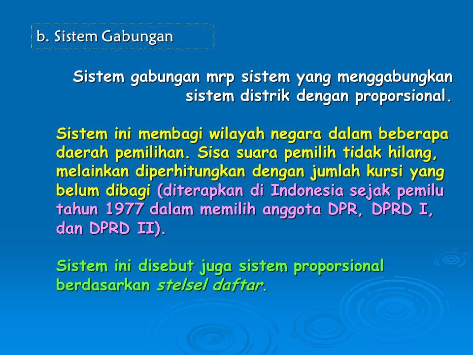 Sistem Gabungan Sistem gabungan mrp sistem yang menggabungkan sistem distrik dengan proporsional.