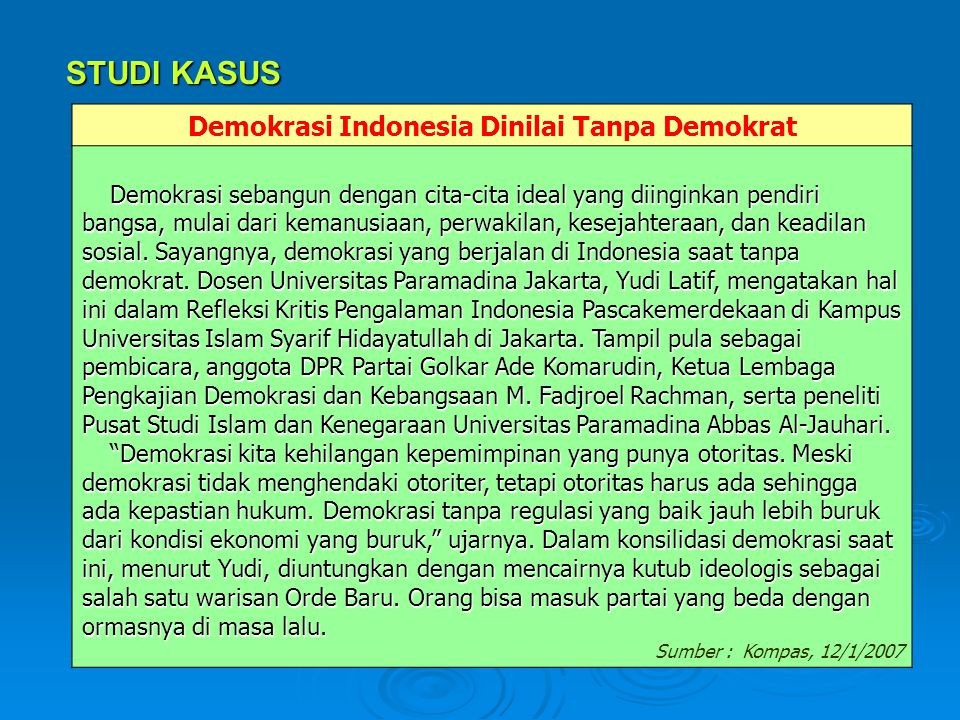 Demokrasi Indonesia Dinilai Tanpa Demokrat