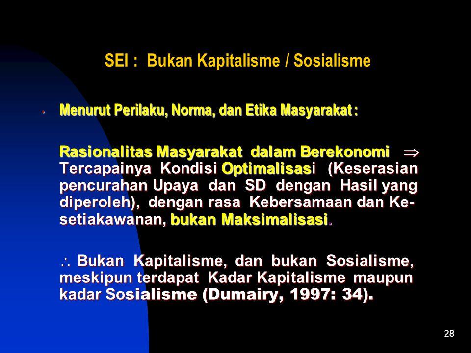 SEI : Bukan Kapitalisme / Sosialisme