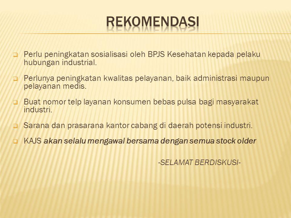 REKOMENDASI Perlu peningkatan sosialisasi oleh BPJS Kesehatan kepada pelaku hubungan industrial.