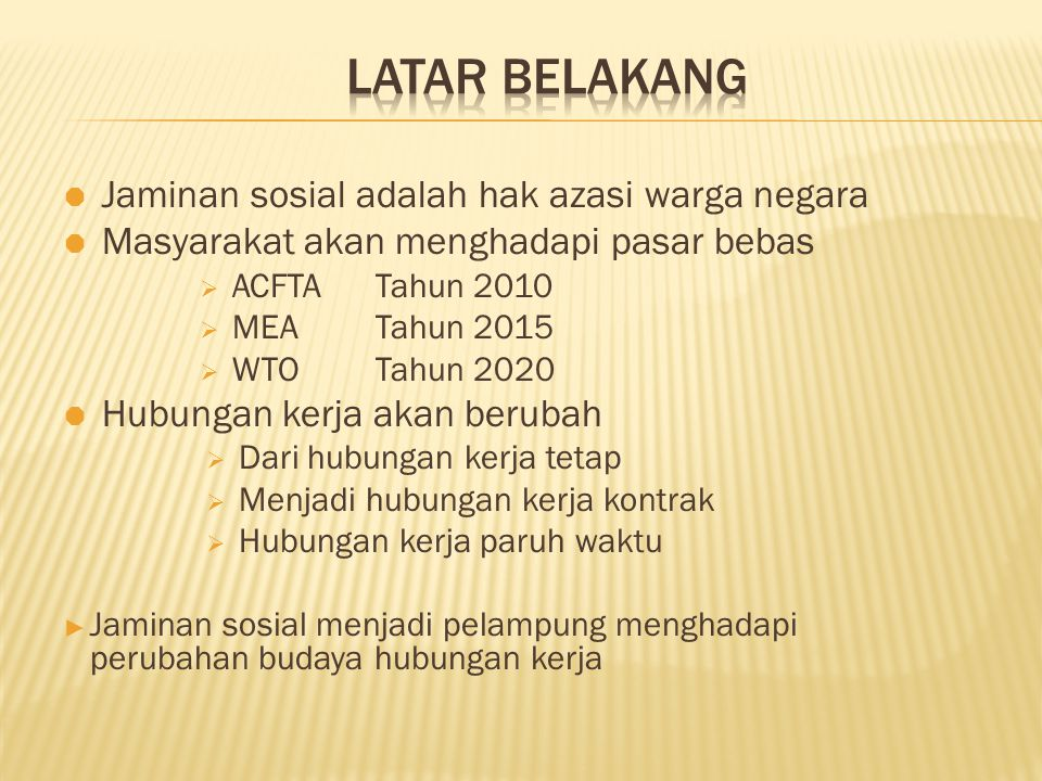 LATAR BELAKANG Jaminan sosial adalah hak azasi warga negara