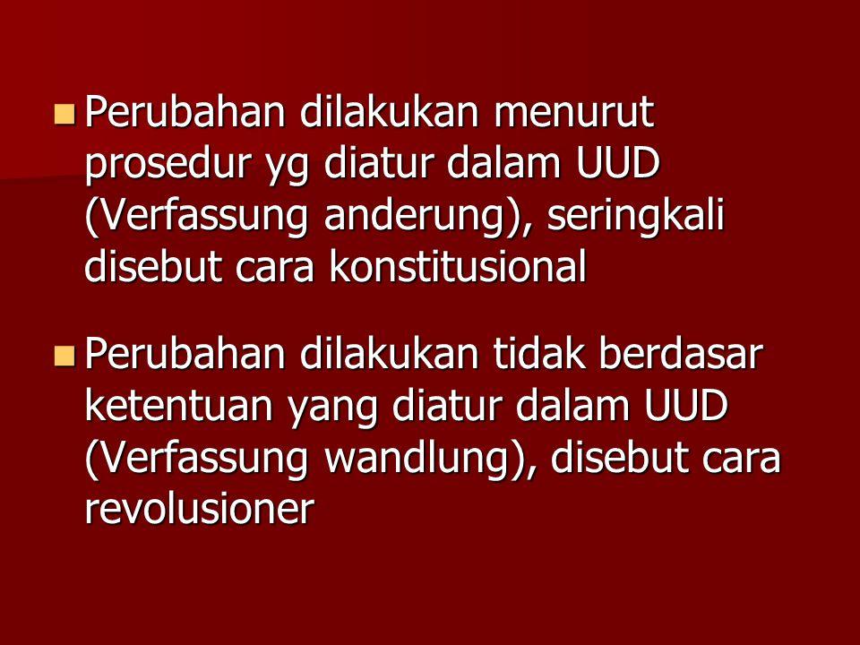 Perubahan dilakukan menurut prosedur yg diatur dalam UUD (Verfassung anderung), seringkali disebut cara konstitusional