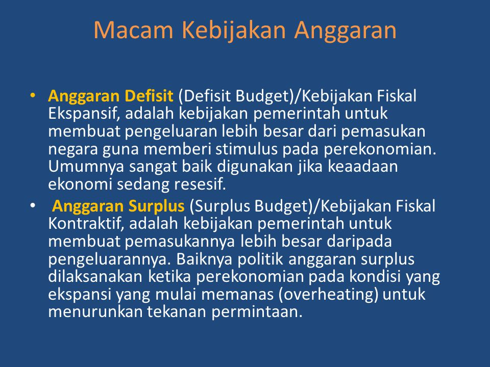 Macam Kebijakan Anggaran