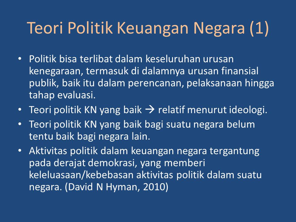 Teori Politik Keuangan Negara (1)