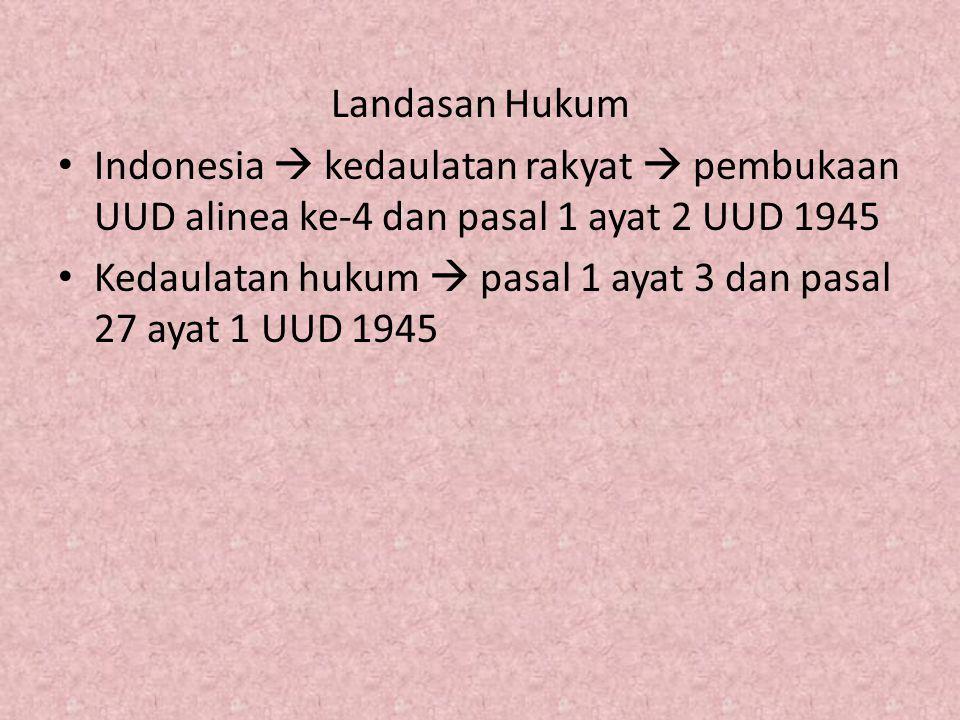 Landasan Hukum Indonesia  kedaulatan rakyat  pembukaan UUD alinea ke-4 dan pasal 1 ayat 2 UUD 1945.