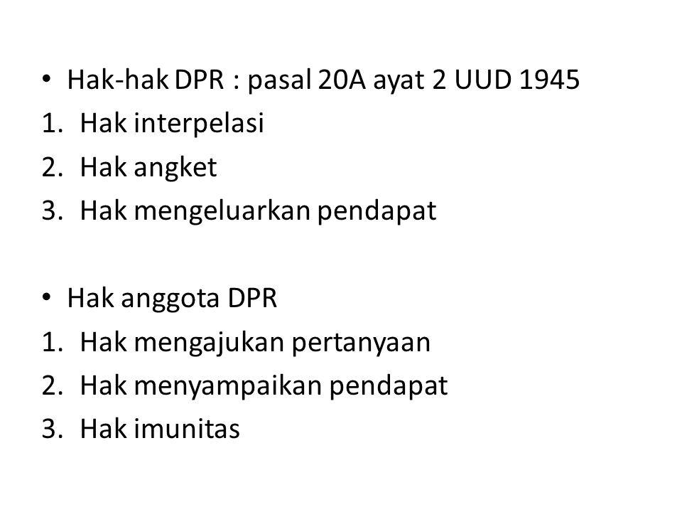 Hak-hak DPR : pasal 20A ayat 2 UUD 1945