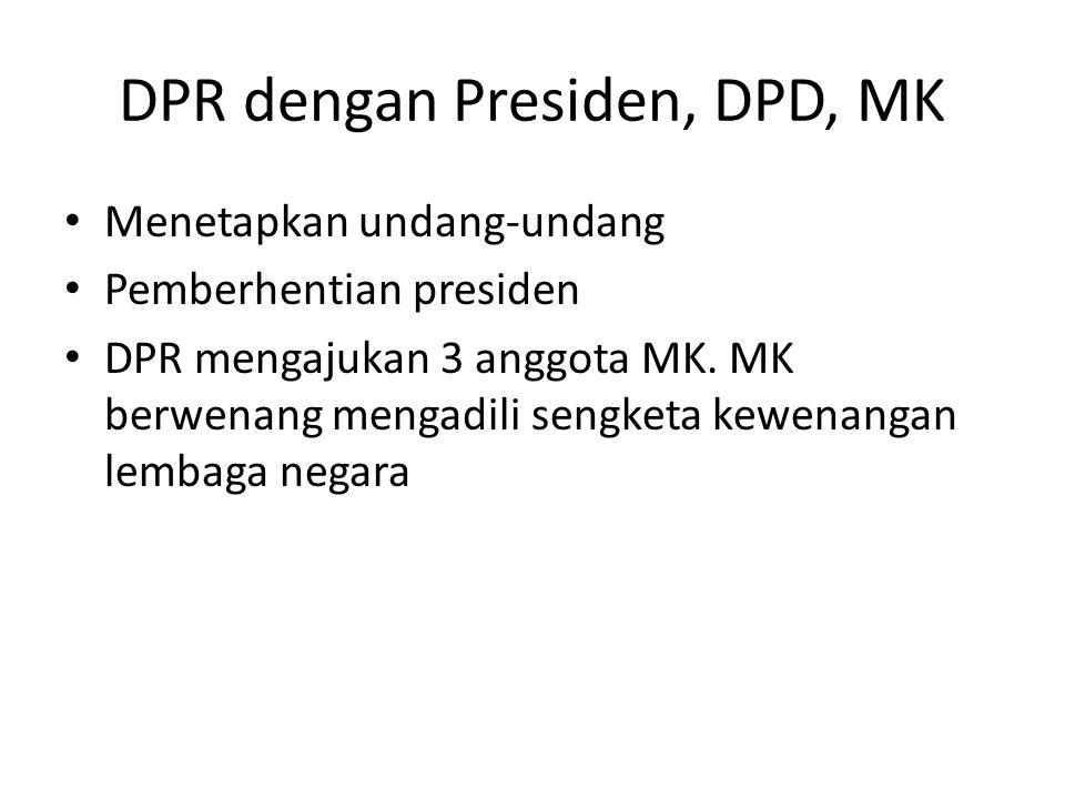 DPR dengan Presiden, DPD, MK