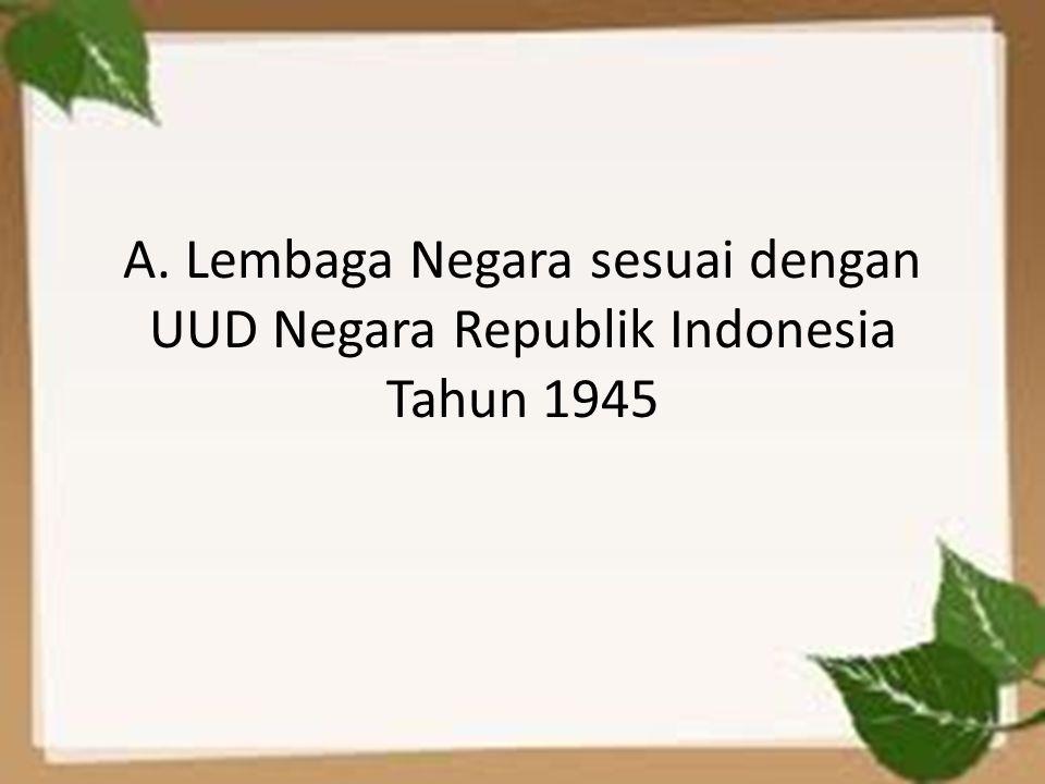 A. Lembaga Negara sesuai dengan UUD Negara Republik Indonesia Tahun 1945