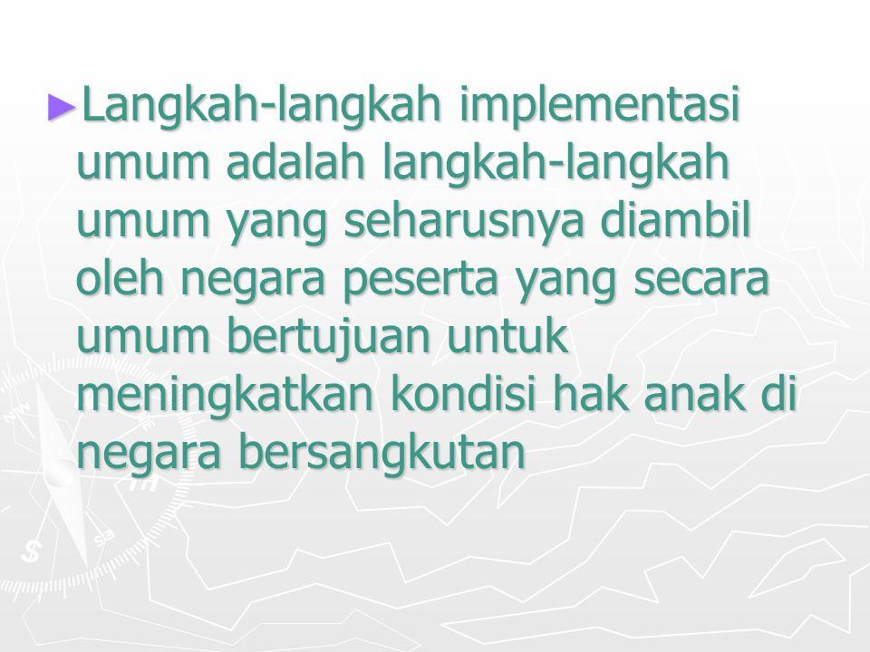 Langkah-langkah implementasi umum adalah langkah-langkah umum yang seharusnya diambil oleh negara peserta yang secara umum bertujuan untuk meningkatkan kondisi hak anak di negara bersangkutan