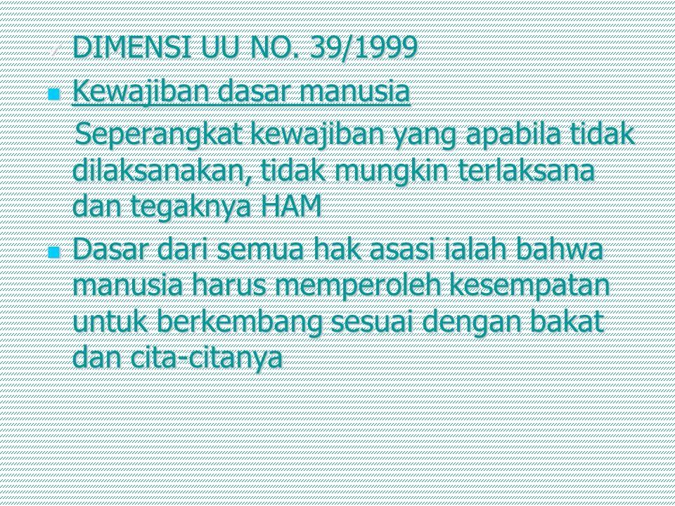 DIMENSI UU NO. 39/1999 Kewajiban dasar manusia. Seperangkat kewajiban yang apabila tidak dilaksanakan, tidak mungkin terlaksana dan tegaknya HAM.
