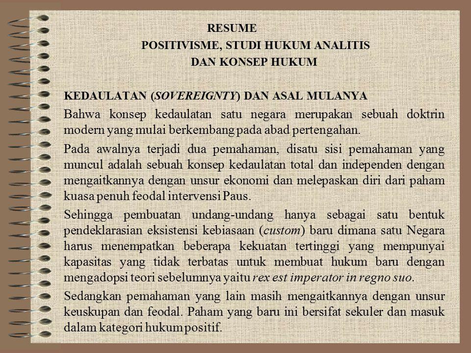 POSITIVISME, STUDI HUKUM ANALITIS