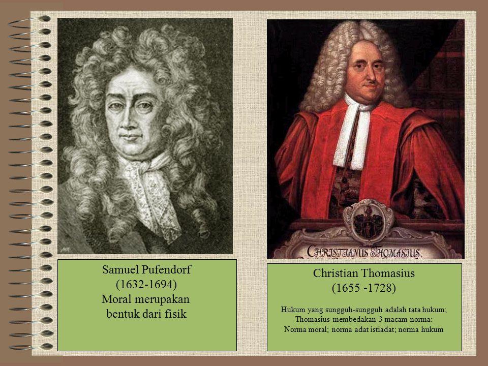 Samuel Pufendorf Christian Thomasius (1632-1694) (1655 -1728)