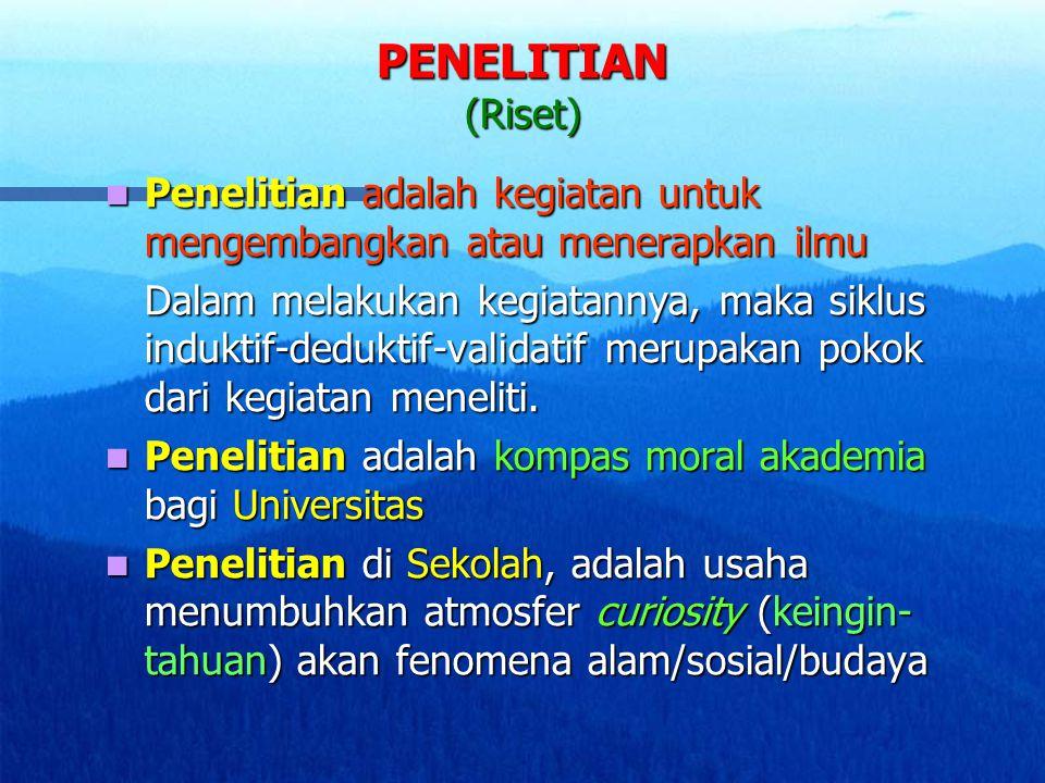 PENELITIAN (Riset) Penelitian adalah kegiatan untuk mengembangkan atau menerapkan ilmu.