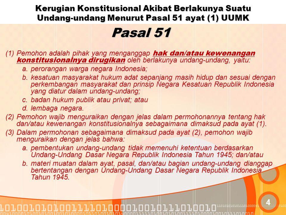 Kerugian Konstitusional Akibat Berlakunya Suatu Undang-undang Menurut Pasal 51 ayat (1) UUMK