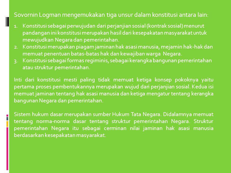 Sovornin Logman mengemukakan tiga unsur dalam konstitusi antara lain: