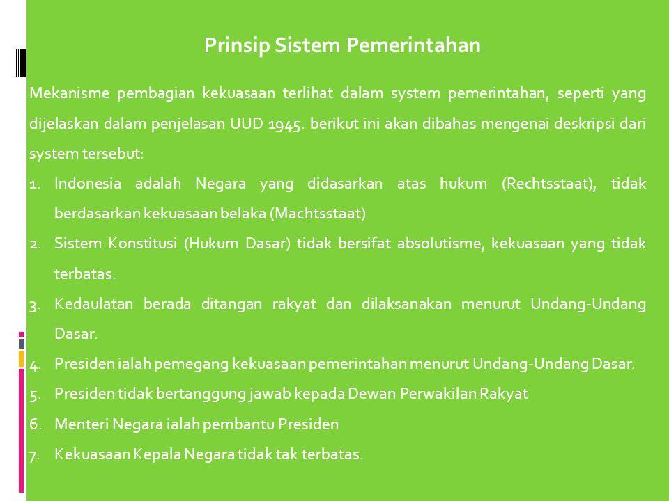 Prinsip Sistem Pemerintahan
