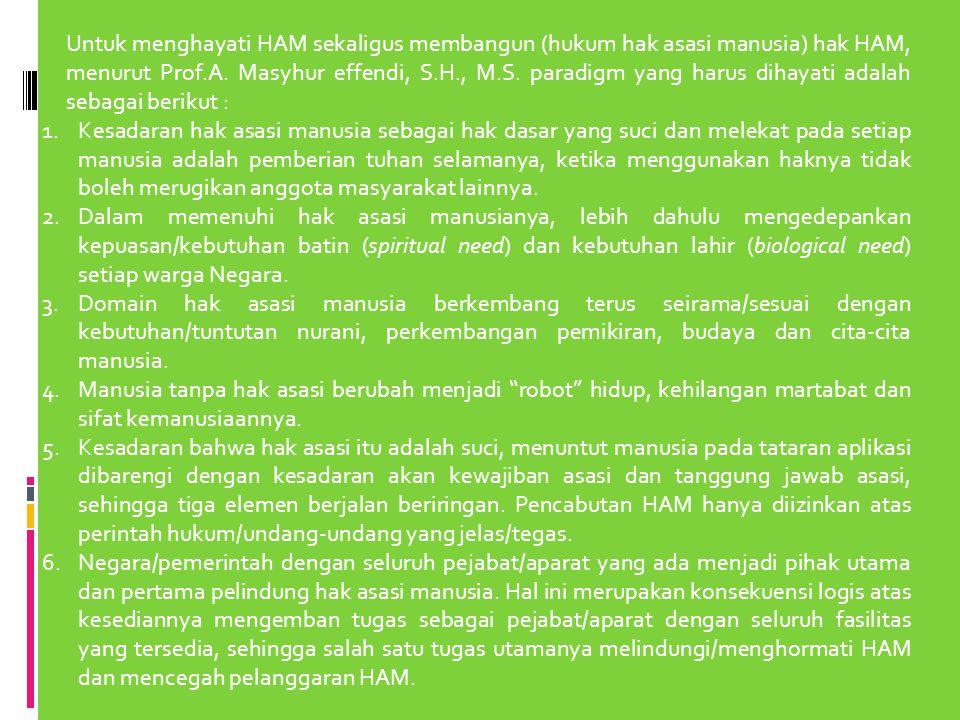 Untuk menghayati HAM sekaligus membangun (hukum hak asasi manusia) hak HAM, menurut Prof.A. Masyhur effendi, S.H., M.S. paradigm yang harus dihayati adalah sebagai berikut :
