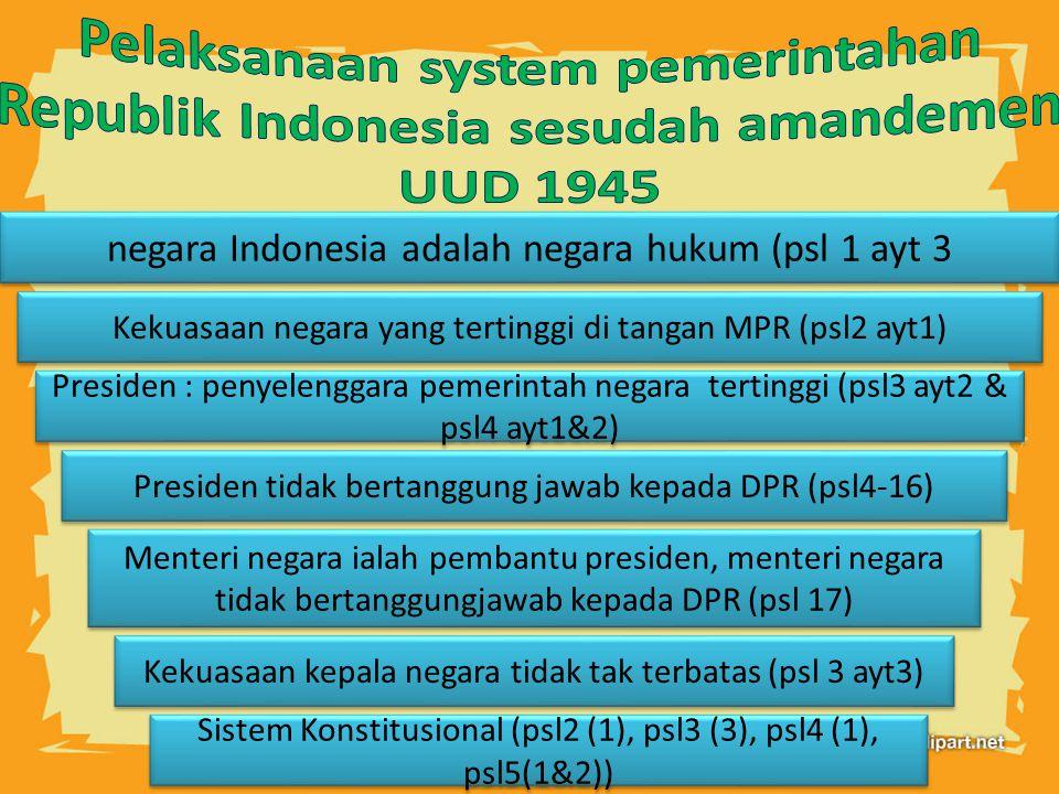 Pelaksanaan system pemerintahan Republik Indonesia sesudah amandemen UUD 1945