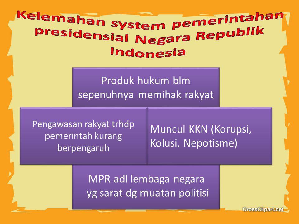 Kelemahan system pemerintahan presidensial Negara Republik Indonesia