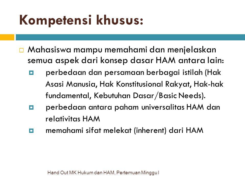 Kompetensi khusus: Mahasiswa mampu memahami dan menjelaskan semua aspek dari konsep dasar HAM antara lain: