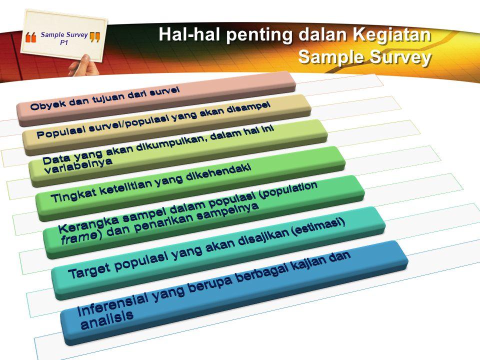 Hal-hal penting dalan Kegiatan Sample Survey