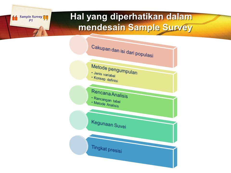 Hal yang diperhatikan dalam mendesain Sample Survey