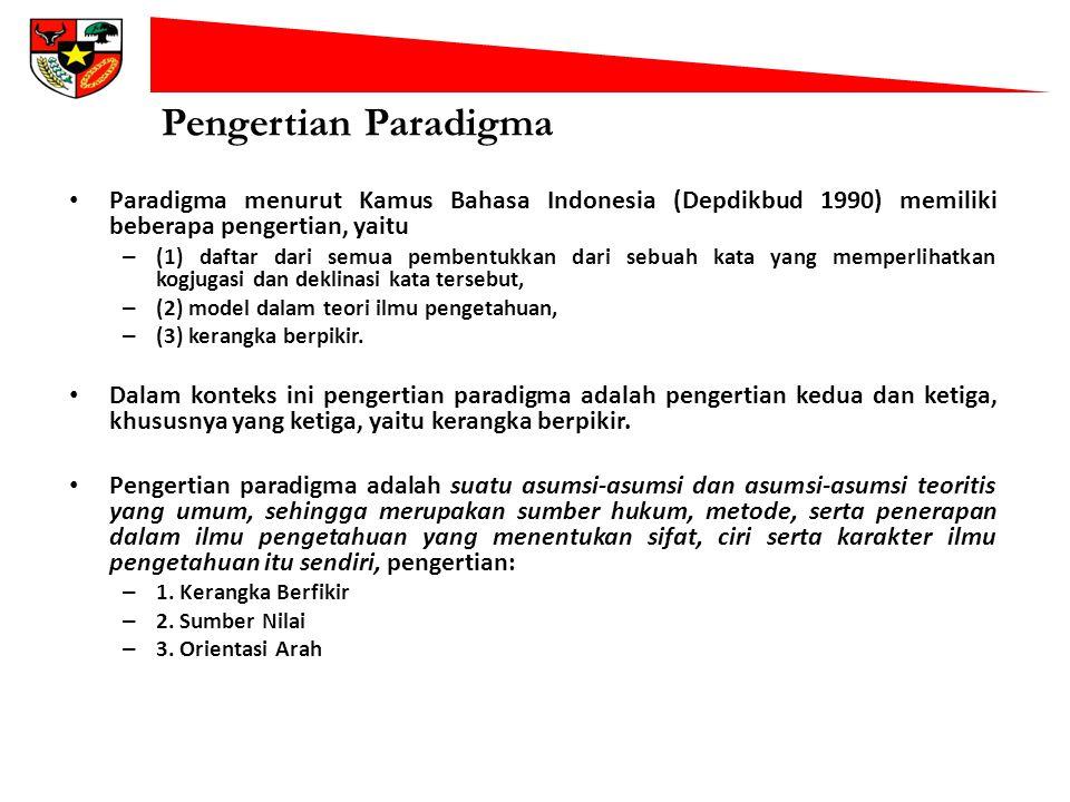 Pengertian Paradigma Paradigma menurut Kamus Bahasa Indonesia (Depdikbud 1990) memiliki beberapa pengertian, yaitu.