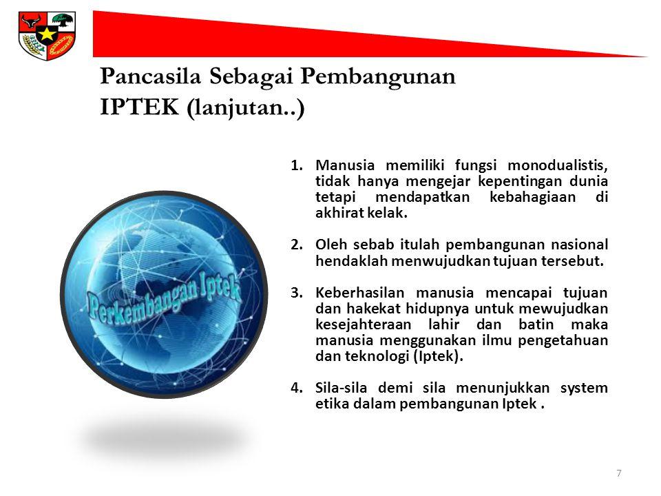 Pancasila Sebagai Pembangunan IPTEK (lanjutan..)