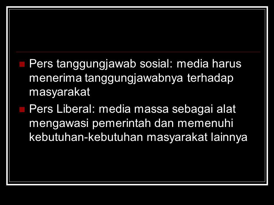 Pers tanggungjawab sosial: media harus menerima tanggungjawabnya terhadap masyarakat