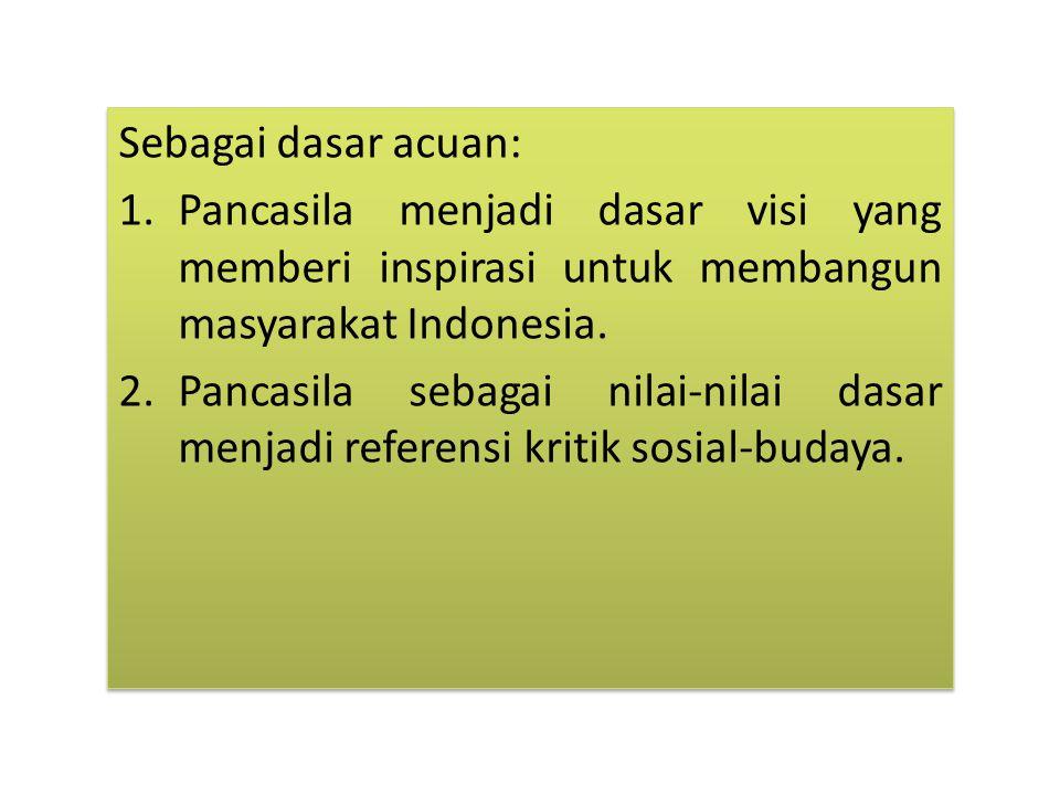 Sebagai dasar acuan: Pancasila menjadi dasar visi yang memberi inspirasi untuk membangun masyarakat Indonesia.