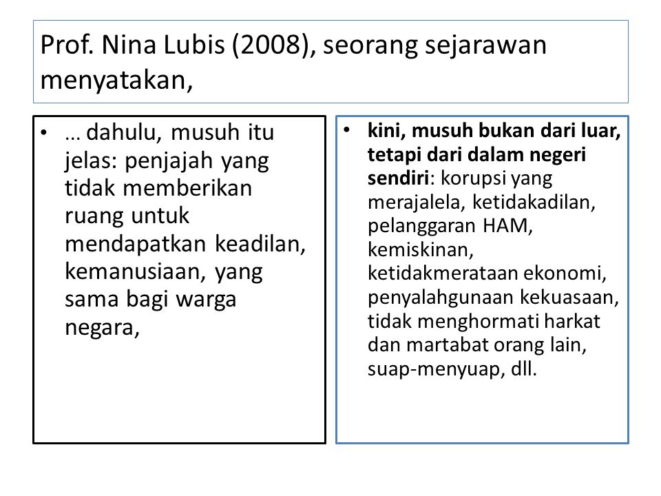Prof. Nina Lubis (2008), seorang sejarawan menyatakan,