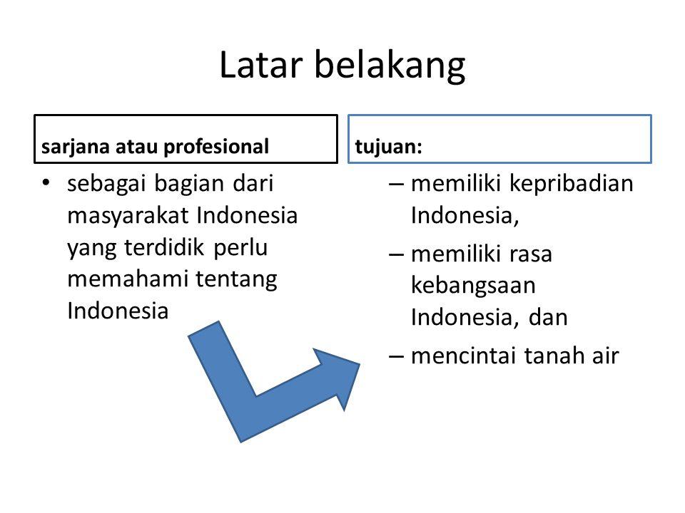Latar belakang sarjana atau profesional. tujuan: sebagai bagian dari masyarakat Indonesia yang terdidik perlu memahami tentang Indonesia.