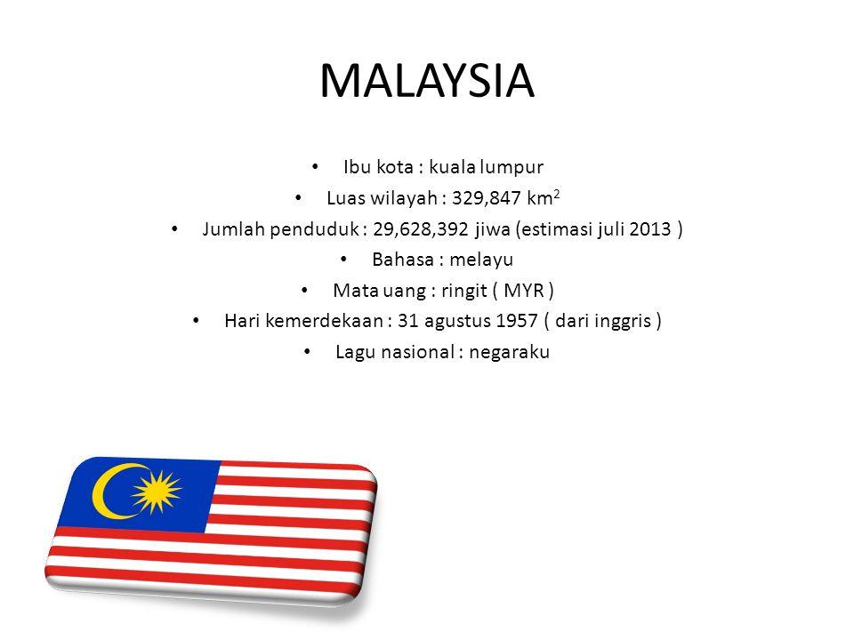 MALAYSIA Ibu kota : kuala lumpur Luas wilayah : 329,847 km2