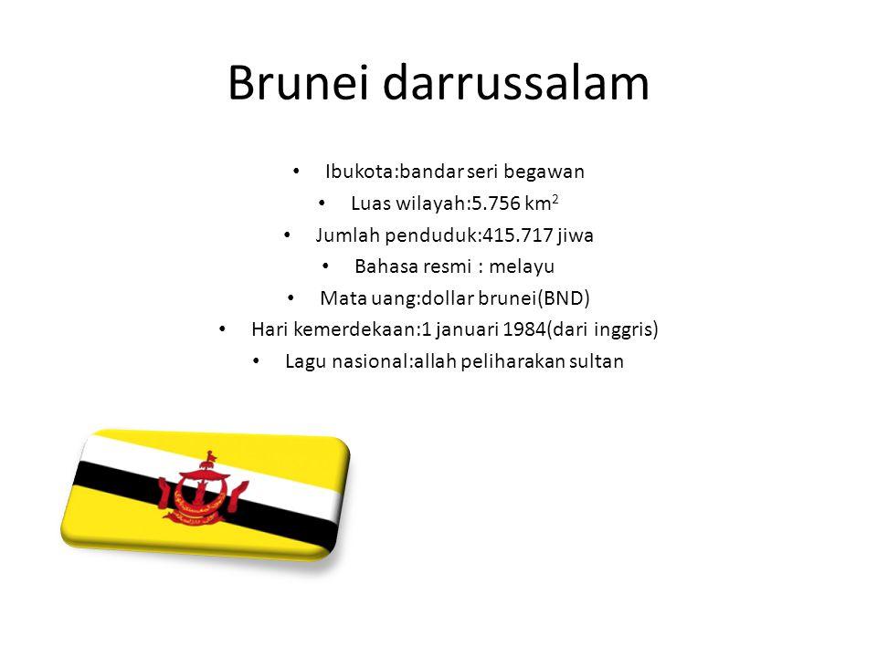 Brunei darrussalam Ibukota:bandar seri begawan Luas wilayah:5.756 km2